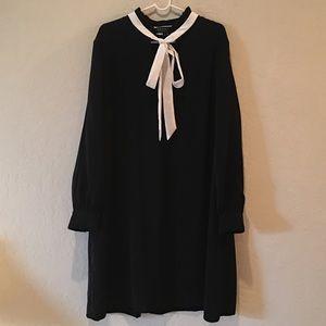 Eloquii Black White Tie Front Long Sleeve Dress